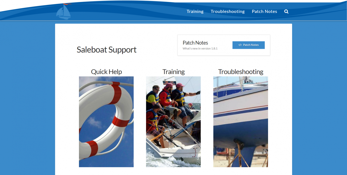 Saleboat Support Screenshot
