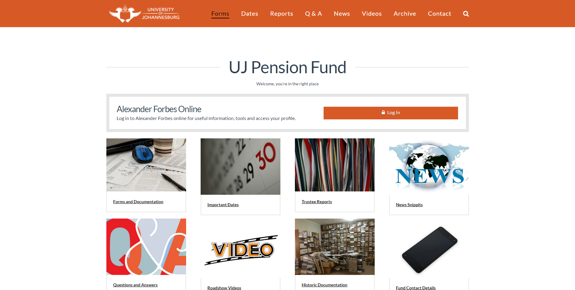 UJ Pension Screenshot
